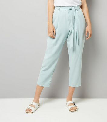 Mint Green Tie Waist Trousers New Look