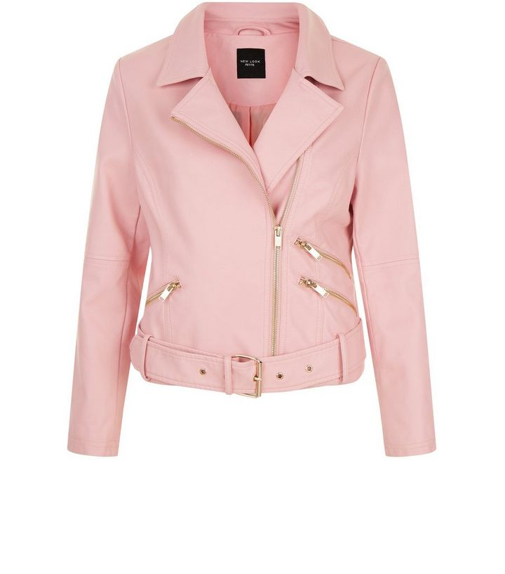 various design best sale special section Petite Pink Leather-Look Biker Jacket Add to Saved Items Remove from Saved  Items