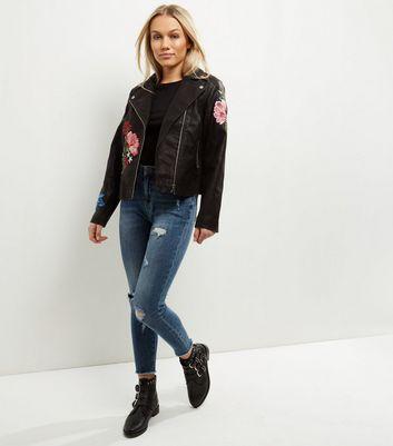 Petite Black Floral Embroidered Biker Jacket New Look