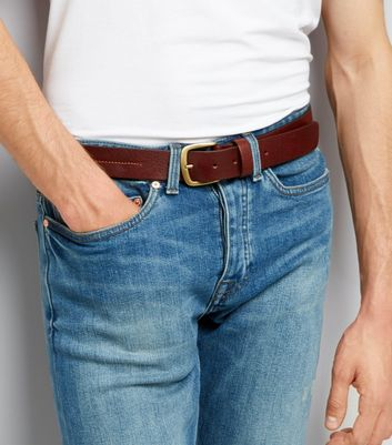 Brown Leather Stitch Detail Belt New Look