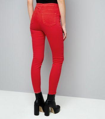 Red Ripped Hem Skinny Hallie Jeans New Look