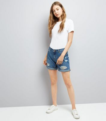Blue Ripped Boyfriend Shorts New Look