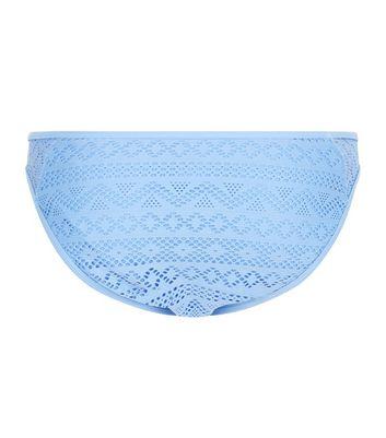 Pale Blue Crochet Lace Low Rise Bikini Bottoms New Look