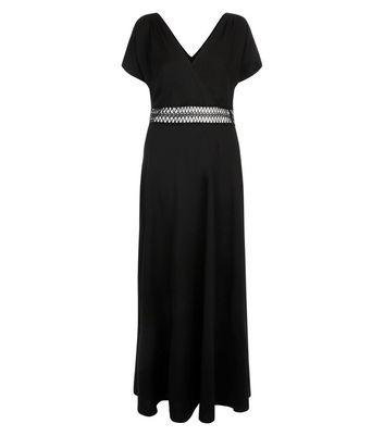 Black Crochet Waist Maxi Bridesmaid Dress New Look