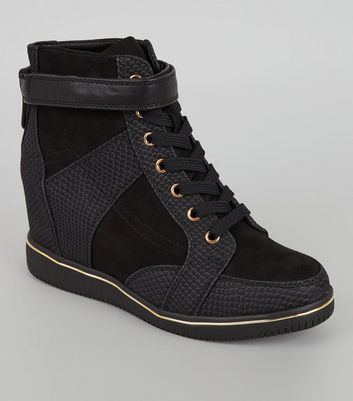 Black Perforated Panel Wedge Trainers