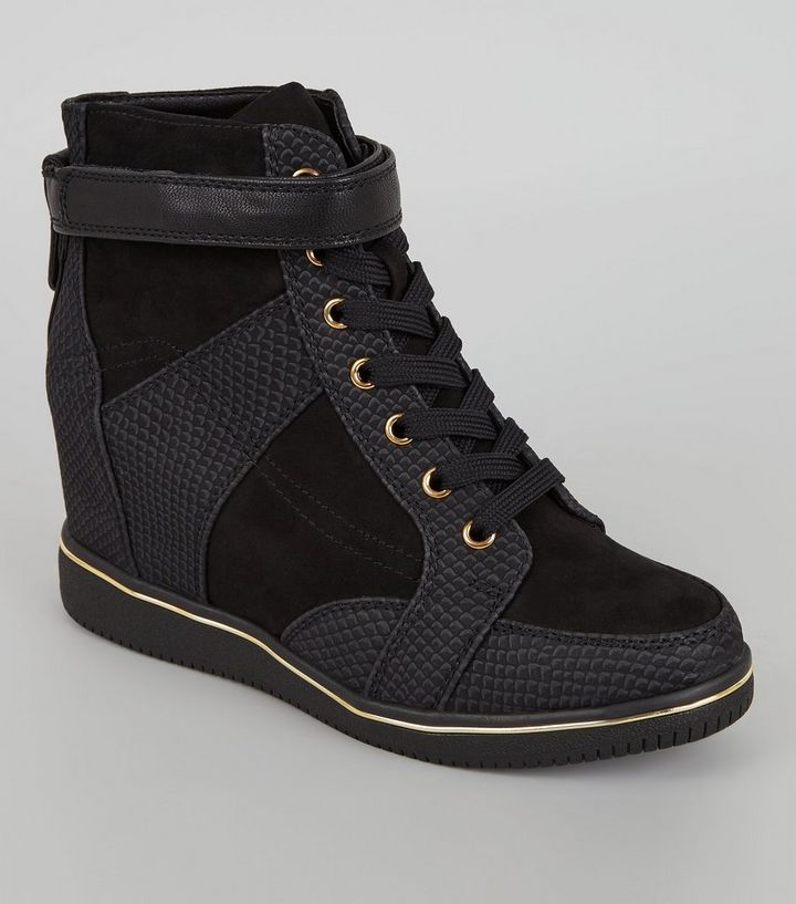 faeeb20d3e44 Black Perforated Panel Wedge Trainers   New Look