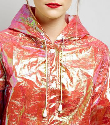 Bright Pink Metallic Shimmer Anorak New Look