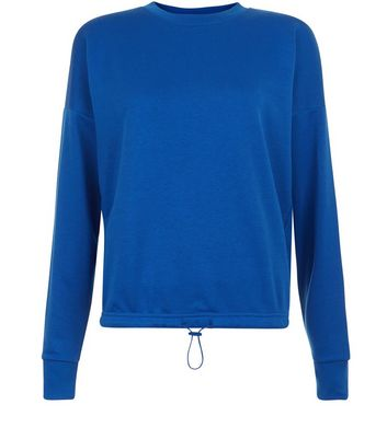 Blue Long Sleeve Drawstring Hem Sweater New Look