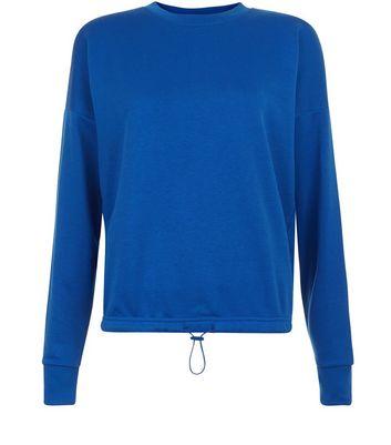 Blue Long Sleeve Drawstring Hem Sweater New Look