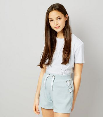 Teens Blue Eyelet Trim Tie Side Shorts New Look