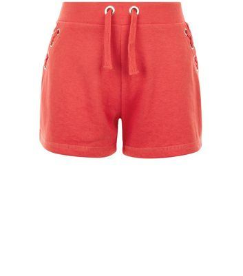 Teens Red Eyelet Trim Tie Side Shorts New Look