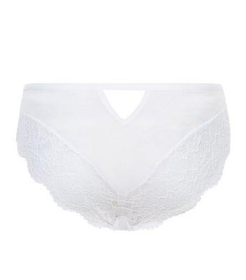 White Mesh And Lace Multi Strap Brazilian Briefs New Look