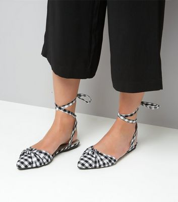 Black Gingham Knot Front Tie Up Sandals New Look