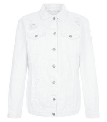 White Ripped Denim Jacket New Look