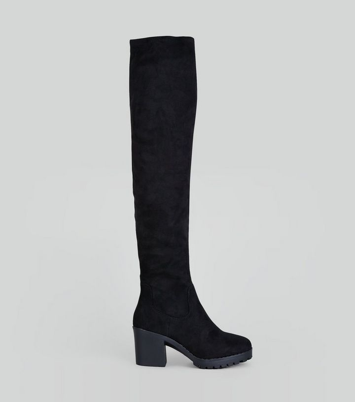 26572b80e21 Black Suedette Over The Knee Chunky Boots