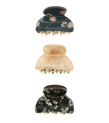 3 Pack Black Marble and Floral Print Mini Bulldog Clips New Look