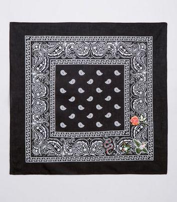 Black Paisley Print Embroidered Badge Bandana New Look