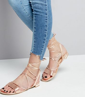 Rose Gold Metallic Tie Up Ankle Sandals New Look
