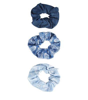 3 Pack Blue Paisley Print Denim Scrunchies New Look