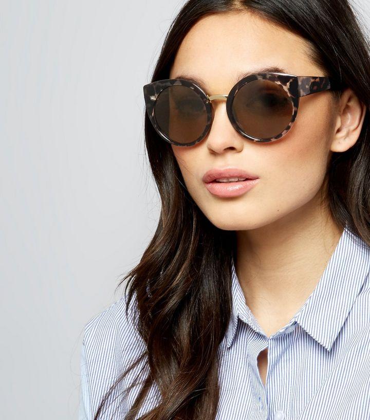 b3e5c11270 Brown Tortoiseshell Oversized Round Sunglasses