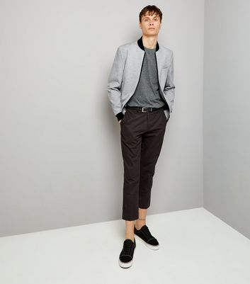 Grey Tailored Jersey Bomber Jacket New Look