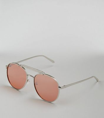 Silver Mirrored Lens Pilot Sunglasses New Look