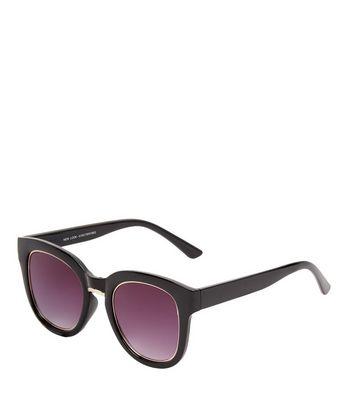 Black Metal Rim Sunglasses New Look