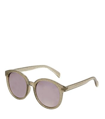 Silver Glitter Round Sunglasses New Look