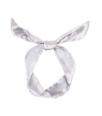 Silver Sateen Neck Tie New Look