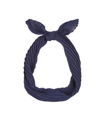 Navy Pleated Necktie New Look