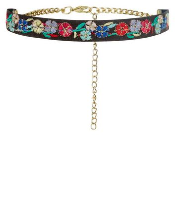 Black Floral Embroidered Choker New Look