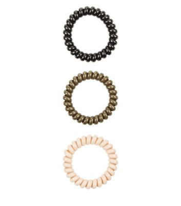 3 Pack Khaki Cream and Black Spiral Bobbles New Look