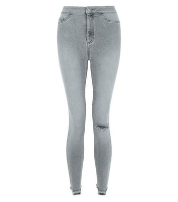 Grey High Waist Ripped Knee Skinny Hallie Jeans New Look