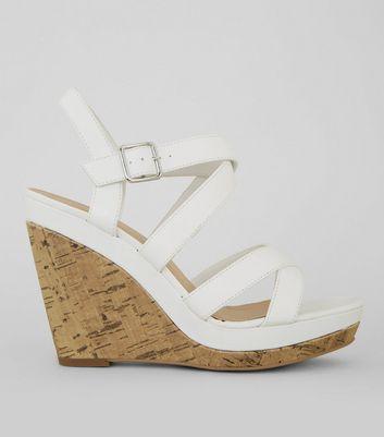 White Strappy Cork Wedge Heeled Sandals