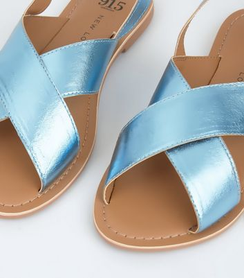 Teens Blue Metallic Leather Cross Strap Sandals New Look