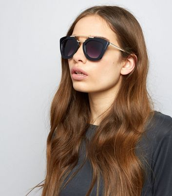 Black Double Frame Sunglasses New Look