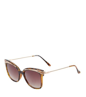 Brown Tortoiseshell Metal Bar Top Sunglasses New Look