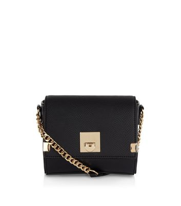 Black Textured Mini Cross Body Bag New Look
