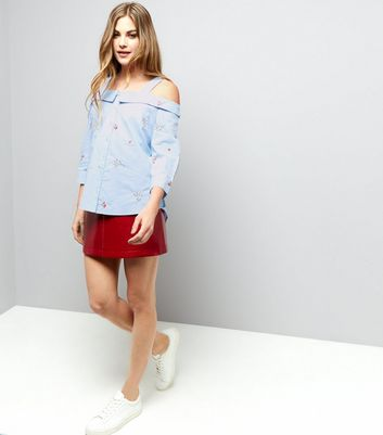 Pale Blue Floral Embroidered Cold Shoulder Shirt New Look