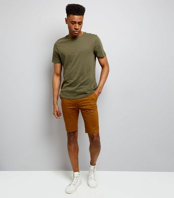 Camel Skinny Chino Shorts New Look