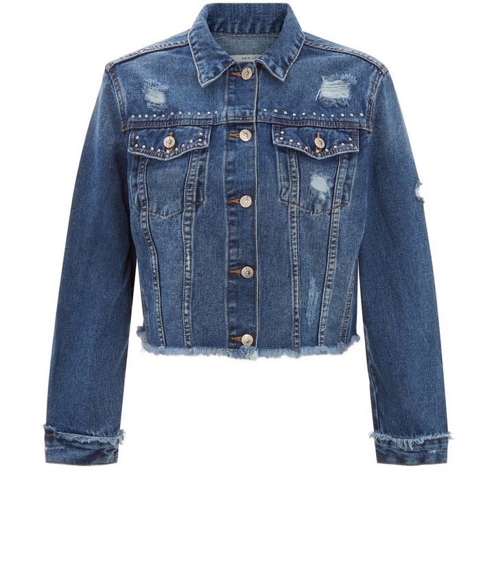 e10b50e76c ... Dark Blue Frayed Hem Studded Cropped Denim Jacket. ×. ×. ×. Shop the  look