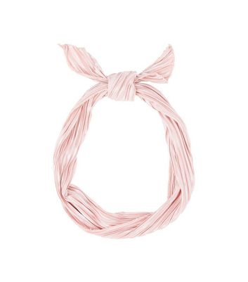 Pink Pleated Neck Tie New Look