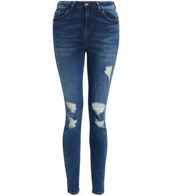 Tall Blue Ripped Skinny Jeans New Look