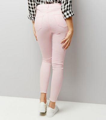 Mid Pink Ripped Skinny Jenna Jeans New Look