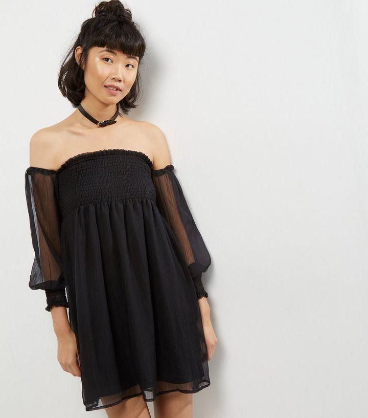 cb58c698ced3 Blue Vanilla Black Chiffon Shirred Bardot Neck Dress | New Look