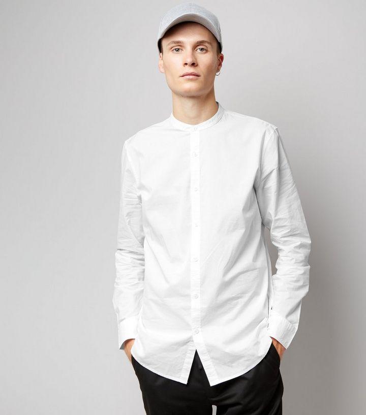 54a7b7bf92c9e2 White Cotton Grandad Collar Long Sleeve Shirt | New Look