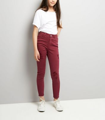 Teens Burgundy Ripped Skinny Jeans New Look