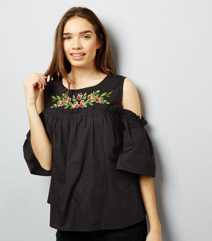 d22cc7dd23b47a Influence Black Floral Embroidered Cold Shoulder Top