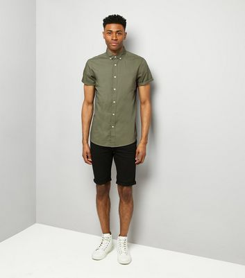 Green Washed Cotton Short Sleeve Shirt New Look