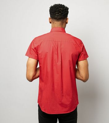 Red Washed Cotton Short Sleeve Shirt New Look